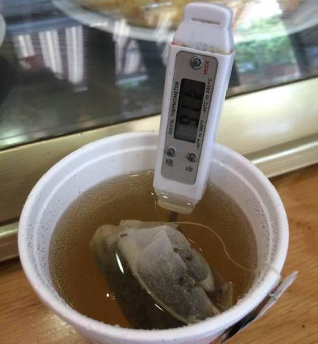 Un vaso de té a 91,1 grados centígrados.