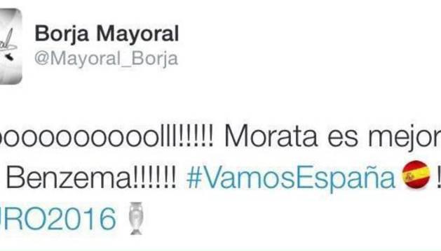 Un supuesto tuit de Borja Mayoral tras el primer gol de Morata la arma en Twitter