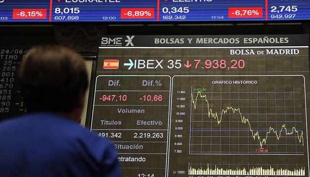 Un mujer observa el panel de la Bolsa española en la jornada con la mayor pérdida de su historia.