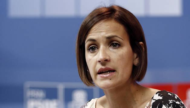 La secretaria general del PSN-PSOE, María Chivite, durante su intervención en el Comité Regional.