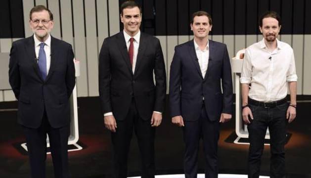 Rajoy, Sánchez Rivera e Iglesias.