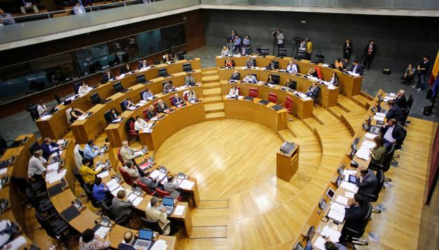 Imagen del hemiciclo, en una sesión plenaria del Parlamento.