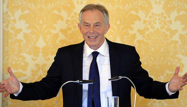 Rueda de prensa de Tony Blair en Londres.