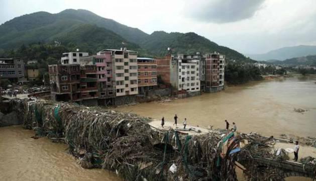 Imagen de la región de Fujian tras la tormenta del tifón Nepartak.