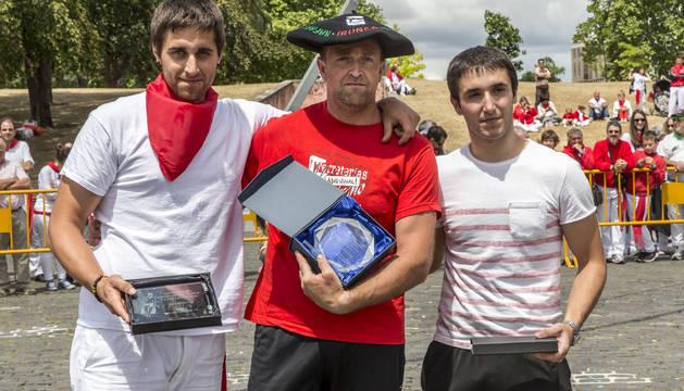 El podio del Campeonato Navarro masculino txinga.