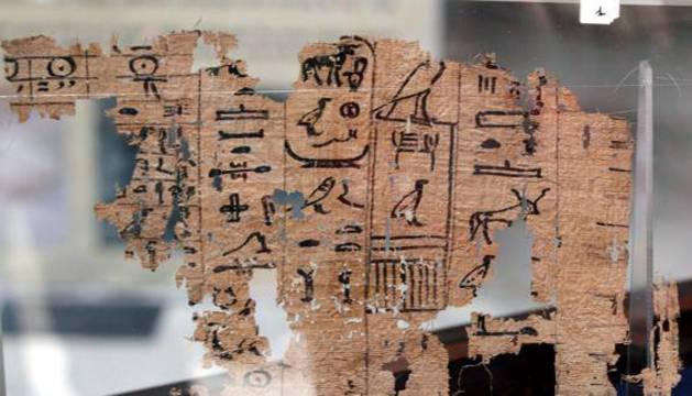 Detalle del papiro hallado en la región egipcia de Wadi Al Jarf.