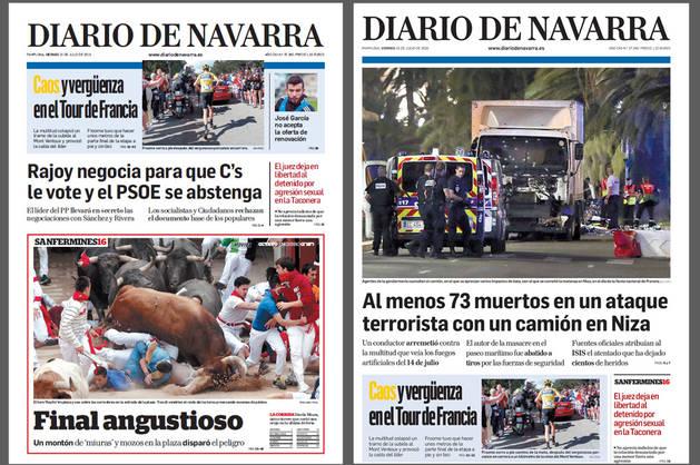 Las portadas de la primera y segunda edición de Diario de Navarra.