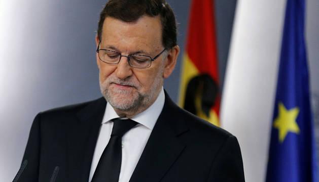 Rajoy, durante su comparecencia en la Moncloa.