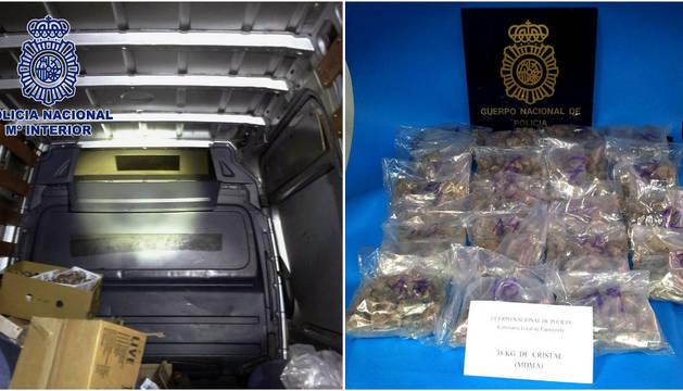 Fotografía facilitada por la Policía Nacional tras la incautación en Fuengirola (Málaga) de 34 kilos de MDMA