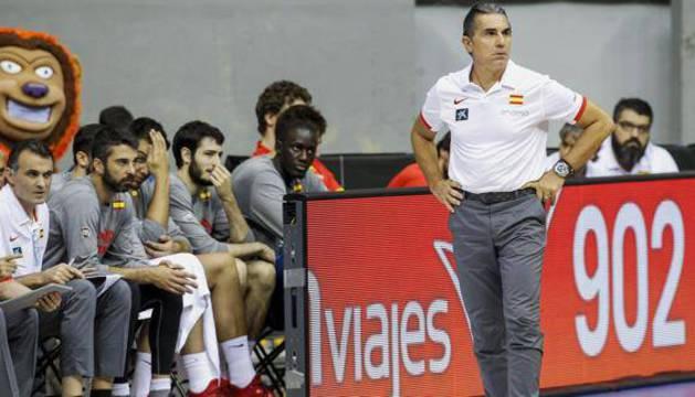 Scariolo, durante un partido de la selección española.