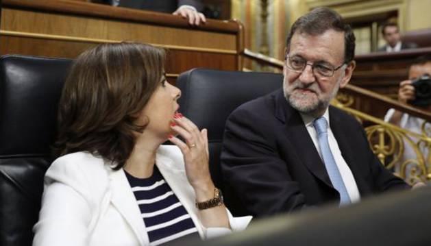 Mariano Rajoy y Soraya Sáenz de Santamaría, hoy en el Congreso.