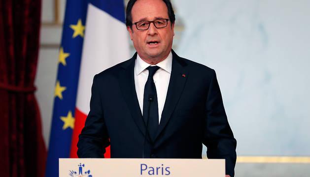 El presidente francés, François Hollande, durante su comparecencia este viernes en Elysee Palace.