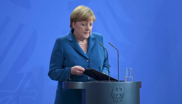 La canciller alemana, Angela Merkel, durante su comparecencia.