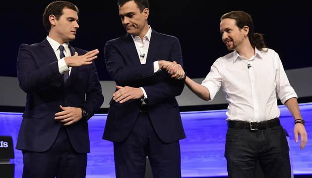 Rivera, Sánchez e Iglesias, en el debate de noviembre de 2015.