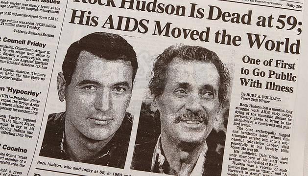 Portada de un periódico con el fallecimiento de Rock Hudson.