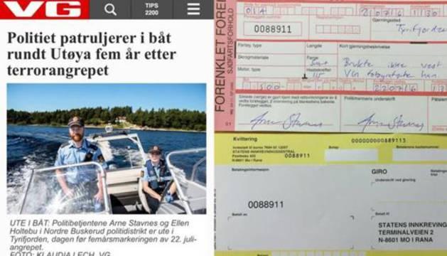 A la izquierda, la polémica imagen, a la derecha, la multa.