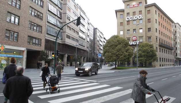 Vista de la sede de CC OO, en las últimas plantas del edificio sindical de la Avenida de Zaragoza de Pamplona.