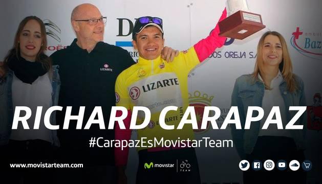 Bienvenida del Movistar a Richard Carapaz en las redes sociales.