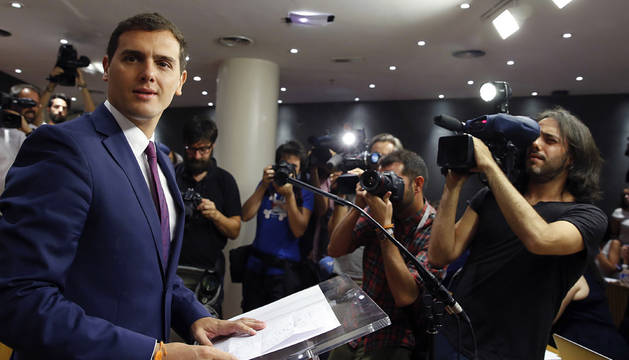 Rivera, en la rueda de prensa tras su encuentro con el Rey.