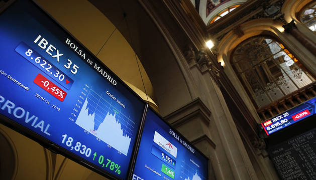 El IBEX 35 sube un 0,88% aupado por los bancos y los grandes valores