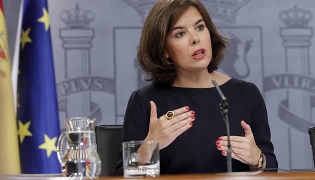 Soraya Sáenz de Santamaría, durante la rueda de prensa.