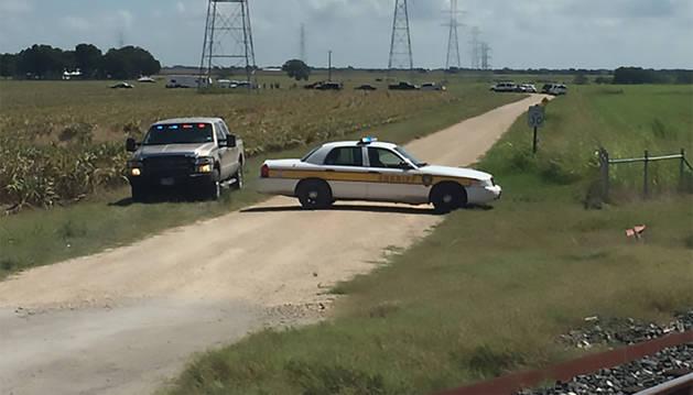 Imagen de las inmediaciones del accidente del globo en Lockhart, Texas.