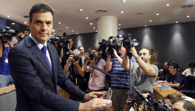 El secretario general del PSOE, Pedro Sánchez, durante una rueda de prensa.