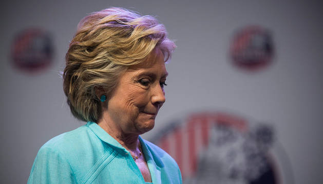 Hillary Clinton, durante la conferencia de las asociaciones de periodistas afroamericanos e hispanos en Washington.