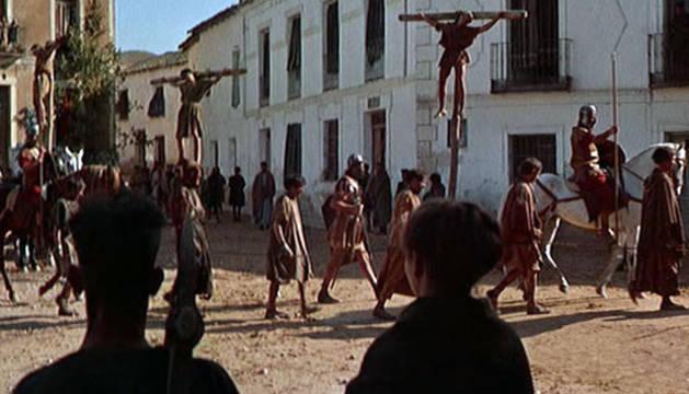 Rodaje de 'Espartaco' en la plaza de Iriépal.