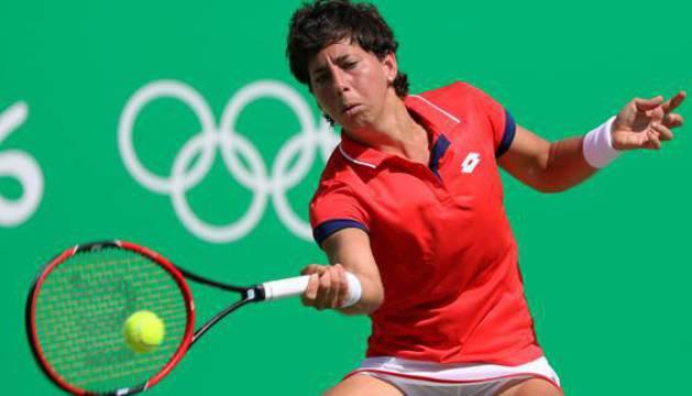 Carla Suárez, en pleno partido.