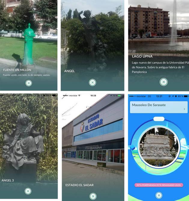 Varias imágenes tomadas del juego con algunos ejemplos pokeparadas en el estadio de El Sadar, el cementerio de Pamplona un ángel y el mausoleo de Sarasate, el lago del parque del Orfeón, o una de las fuentes de Pamplona.