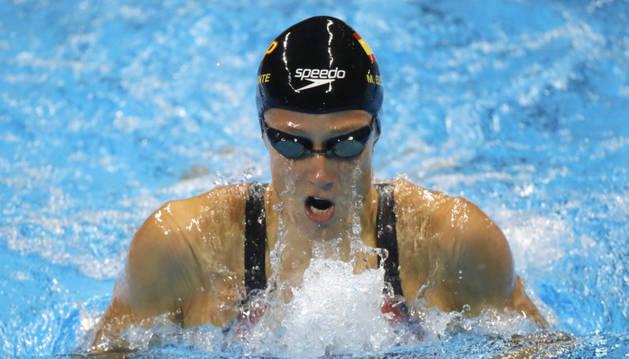 La española Mireia Belmonte, en la semifinal de 100 metros mariposa.