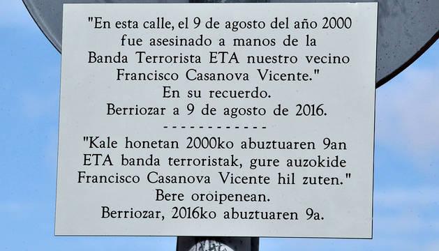 Homenaje a Casanova, asesinado hace 16 años en Berriozar
