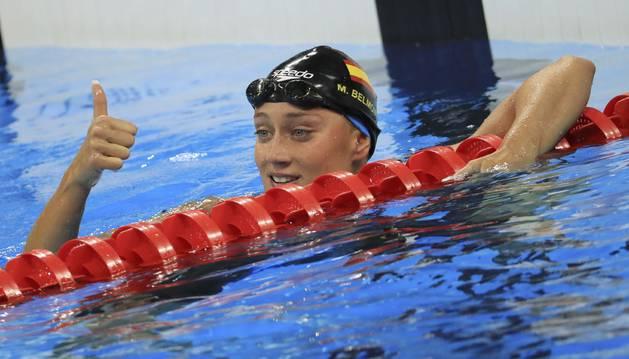 Mireia Belmonte, contenta tras las semifinales del 200 mariposa.
