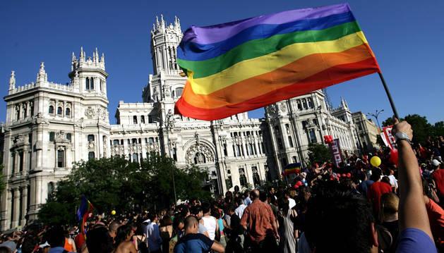 Un hombre sujeta la bandera del colectivo en una manifestación del Orgullo LGTB