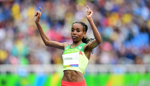 La etíope Almaz Ayana, oro olímpico y récord del mundo de 10.000 metros.