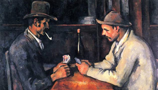 Un cuadro de Cézanne de dos hombres jugando una partida de cartas.