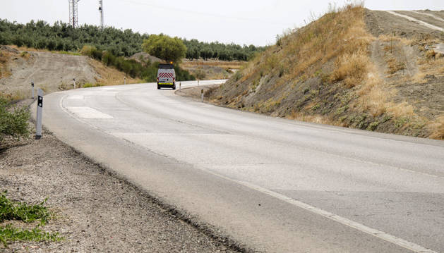 Lugar del accidente ocurrido en la N-322, a la altura del kilómetro 168, en el que se ha visto involucrado un vehículo en el que viajaba el grupo Supersubmarina.