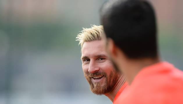 Messi, durante el último entrenamiento del Barcelona.