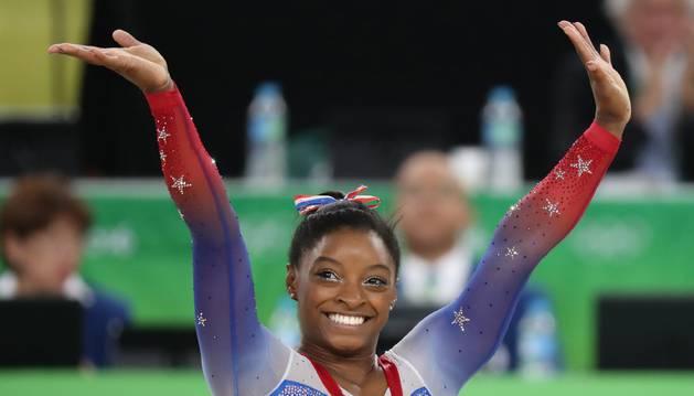 Simone Biles, en la final de suelo.