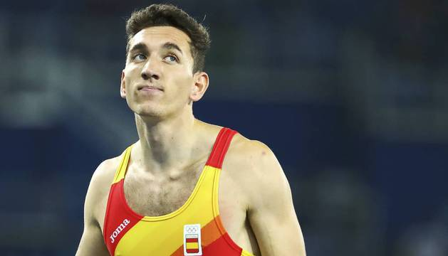 Sergio Fernández, en las semifinales de los 400 metros vallas
