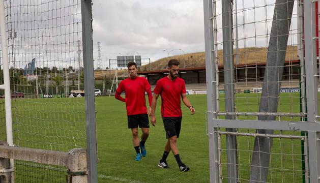 Roberto Torres y Álex Sánchez, en un entrenamiento anterior.