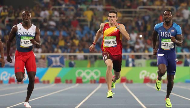 Bruno Hortelano, durante la prueba de los 200 metros.