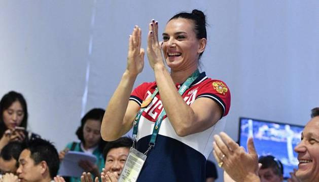 Isinbayeva, tras ser elegida miembro del COI