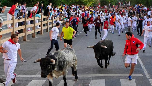 Imagen del quinto encierro de las fiestas de Tafalla.