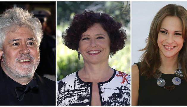 Imágenes de archivo de los cineastas Pedro Almodóvar, Icíar Bollaín (c) y Paula Ortiz, directores de 'Julieta, 'El olivo' y 'La novia', respectivamente.