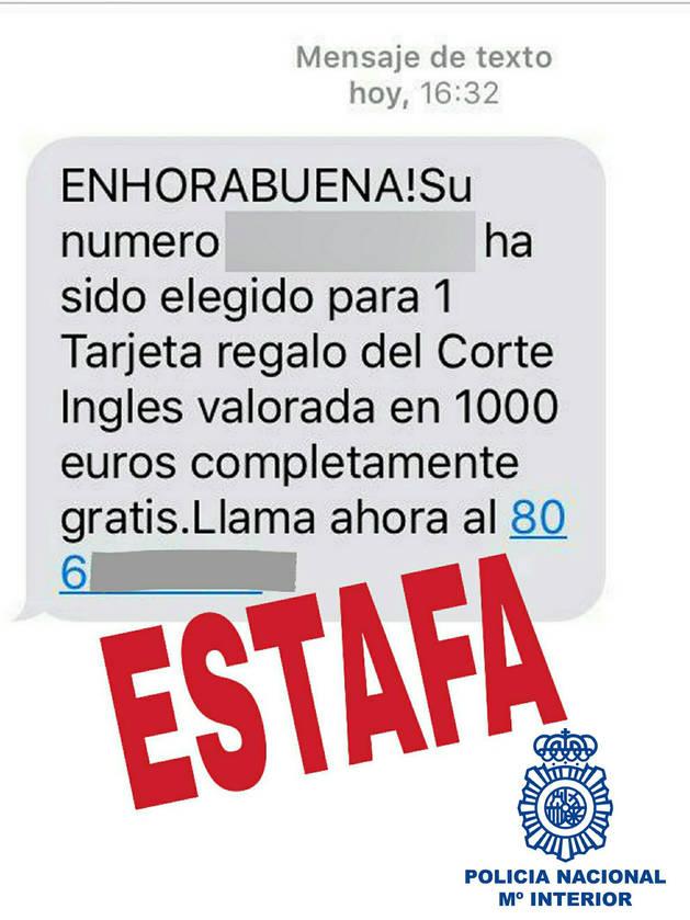 Imagen de los sms de falsos premios con lo que realizaban la estafa.