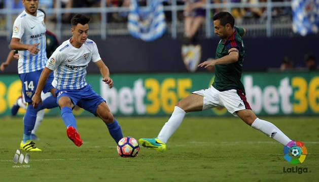 Flaño, contra el Málaga.