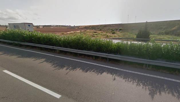 Vista de la AP-7, a la altura del municipio l'Aldea, donde se ha producido el accidente.
