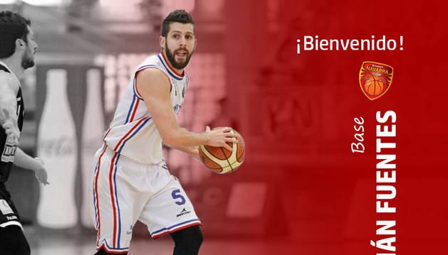 Imagen de bienvenida del Basket Navarra a Adrián Fuertes difundida en las redes sociales.